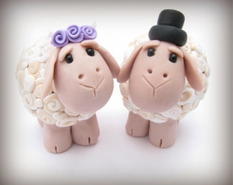 custom wedding cake topper, sheep bride and groom