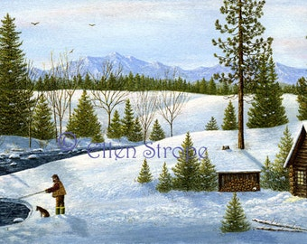 CARD, note cards, Fishing, cabin, dog, snow, water, creek, wilderness, outdoors, cabin decor, lodge decor, mountains