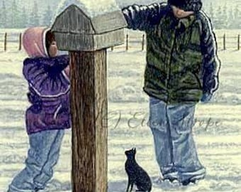 CARDS, Kids, Winter, Snow, Cat, Boy, Girl, Mail Box, Ellen Strope, Greeting card, Note cards, winter decor, castteam