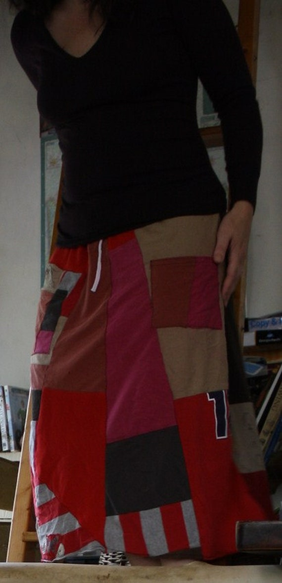Eco Friendly skirt, upcycled t shirts, patchwork- Made to order
