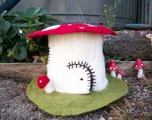 Custom made Large Felt Toadstool House on Green Wool base