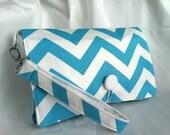 Diaper Wipe Clutch WRISTLET - Lt. Blue & White Chevron- ZigZag  Organize your Diaper Bag