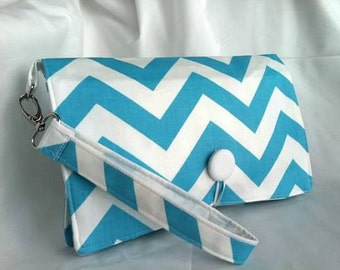 Diaper Wipe Clutch WRISTLET - Lt. Blue & White Chevron- ZigZag  Organize your Diaper Bag