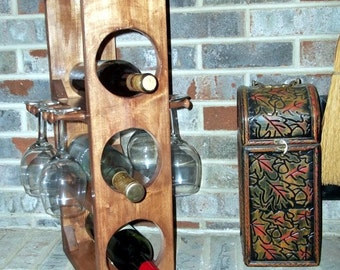 Rustic wine rack stemware rack is perfect for a lodge or cabin