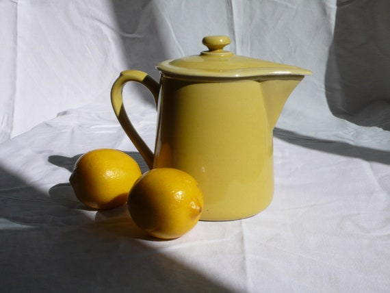 vintage teapot , yellow, coffee pot, 1940s, french  vintage housewares by ancienesthetique