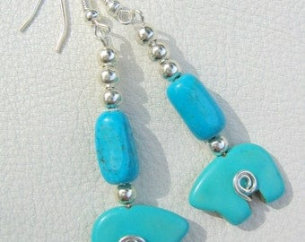 Earrings, Bear Totem, Turquoise Howlite and Magnesite, Native American Inspired