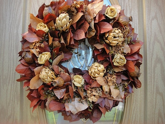 Salal Wreath With Silk Roses Dried Chokes Preserved Hydrangeas And Boxwood