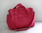 CHRISTMAS SALE - Mini Duffle Bag in Rose Pink Canvas / Handbag / Messenger bag / Shoulder bag / Overnight / Weekender / Women / Carry on
