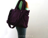 SALE - Deep Plum Canvas bag / Diaper bag / Shoulder / Messenger bag / Tote / Laptop / Travel / Multi purpose - Nuch