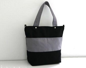 SALE - Unisex Black and Grey Canvas Bag / Tote / Diaper Bag / Messenger/ Laptop / Travel / Handbag - 4 Exterior Pockets