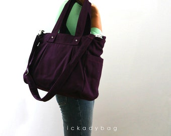 Stock clearance SALE - Deep Plum Canvas bag, Diaper bag, Tote Messenger bag, Laptop, Everyday bag, Multi-purpose, 3 compartments - Nuch