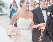 Bridal swarovski crystal jewel medallion wedding sash/belt.  GLAMOROUS VINTAGE