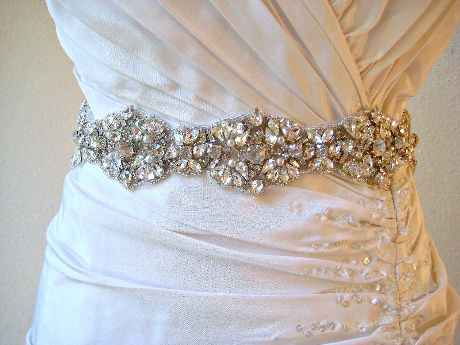 Bridal couture beaded fine crystal & pearl sash Luxury