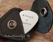 Hand Stamped Guitar Pick Keychain with leather case-  Personalized Aluminum Guitar Pick Key Chain