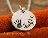 Hand Stamped Necklace - Personalized Jewelry - Sterling Silver Mommy Jewelry - Mini Name Tag with hand print