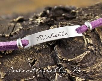 Hand Stamped Bracelet - Personalized Adjustable Bracelet - One word Bracelet (Sterling Silver)