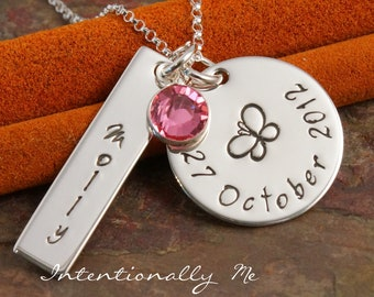Hand Stamped Mommy Necklace - Personalized Jewelry - Name and Date with design -  My Favorite