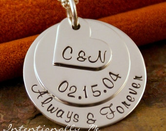 Personalized Anniversary Necklace - Hand Stamped Jewelry - Sterling Silver Necklace- My Anniversary Deluxe with heart