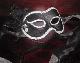 BLACK- Groom- Male Masquerade MASK Mardi Gras- Ribbon Closure- Elegant