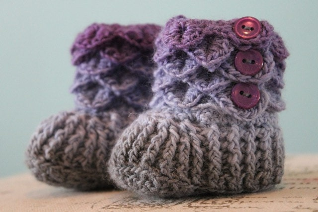 Crochet Pattern For Crocodile Stitch Baby Booties : Crocodile Stitch Booties Crochet Baby Booties CUSTOM