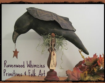 Primitive Halloween Crow, Prim Crow, Halloween Crow Made To Order