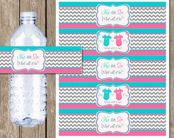 INSTANT DOWNLOAD Onesie Gender Reveal Water Bottle Labels Printable