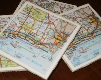 Map Coasters - Mississippi Map Coasters...Including Biloxi and Dauphin Island...Set of 4...Full Cork Bottoms NOT Felt