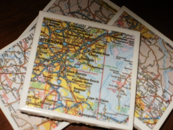 Coasters, Map Coasters - Baltimore, MD...Set of 4...Full Cork Bottoms NOT Felt...For Drinks, Candles