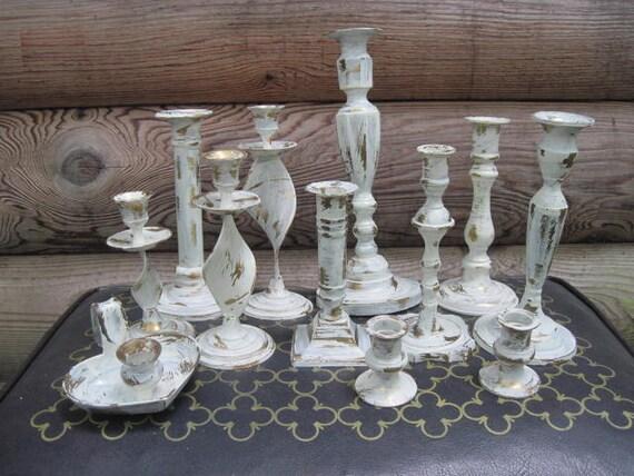 One Dozen Wedding Candle Holders Painted Creamy White