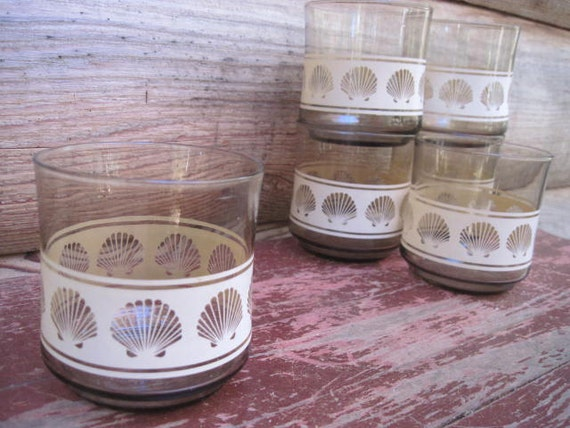 Vintage Sea Shell Lowball Glasses