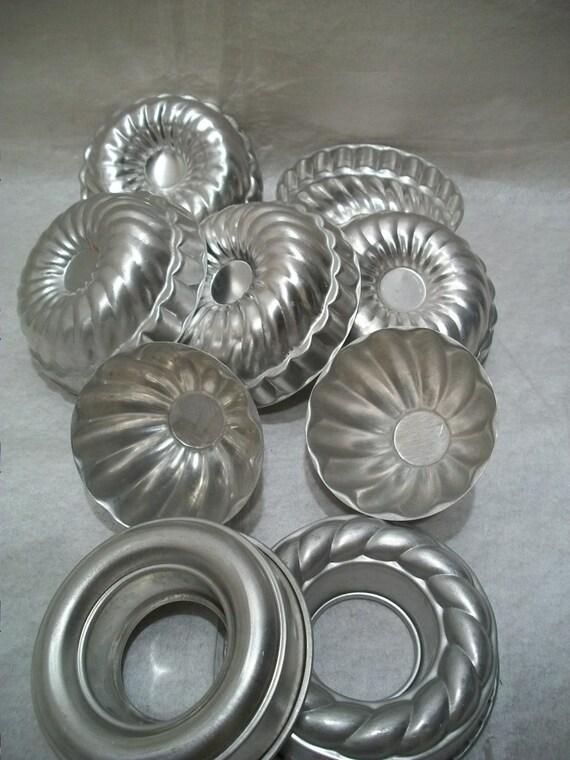 Vintage Aluminum Tart Tins, Dessert Molds, Set of 9, Fluted Molds, Jello Molds,