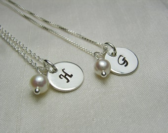 Bridesmaid Jewelry Set of 8, Personalized Bridesmaids Gifts, Monogram Necklace, Initial Necklace, Wedding Jewelry, Bridesmaid Necklace
