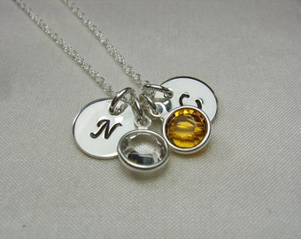 Initial Necklace - Birthstone Necklace - Mothers Necklace - Monogram Necklace - Personalized Necklace - Silver Monogram Initial Jewelry