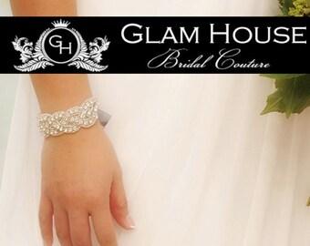 Crystal Bridal Bracelet , Silver bracelet