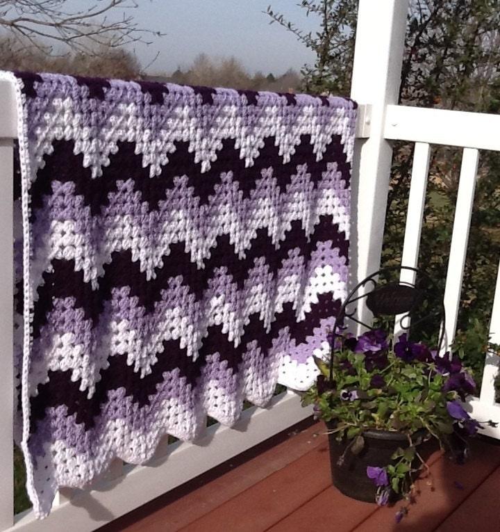 Crochet Blanket Afghan Chevron Granny Ripple Purple And Lilac