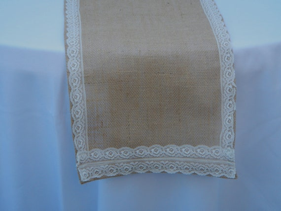 Burlap table runner with lace ready to ship wedding party for 85 inch table runner