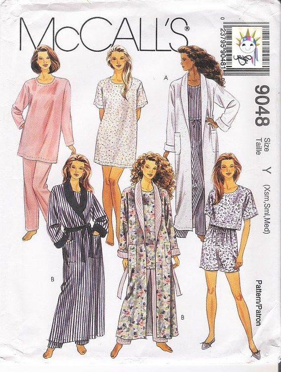 90s Pajamas Patterns Womens Bathrobe Patterns 1990s Patterns McCalls 9048 Size X Small - Medium Uncut Patterns Craft Supplies YacketUSA