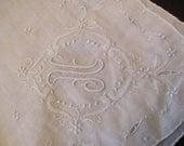 Vintage Large Solid White Madeira Hankie Monogrammed N