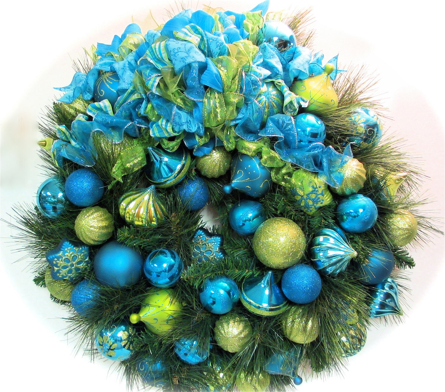 Blue And Green Christmas Tree: Christmas Holiday Bright Lime Green And Turquoise Blue Wreath