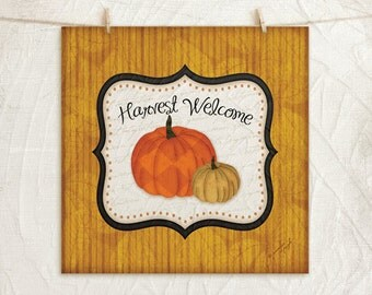 Harvest Welcome - 12x12 Art Print - Halloween or Fall Decor - Pumpkins -Black White Orange Gold