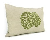 Floral pillow cover - Apple green flower print on natural beige canvas and damask print back - 12x18 decorative pillow cover - ClassicByNature