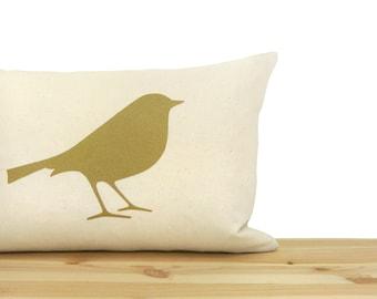 Metallic Gold and Cream Bird Pillow Cover   Decorative throw pillow case   12x18 inches Lumbar Pillow Cover   Hollywood Regency Home Decor