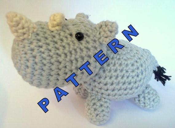Crochet Patterns Zoo Animals : Amigurumi Pattern Rhino Zoo Animal Crochet Pattern by SIXIT
