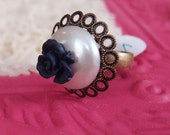 70-27 Vintage Repurposed Lucite Pearl, Navy Blue Flower, Antique Brass Adjustable Ring