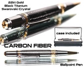 Carbon Fiber Ballpoint Pen / custom made / Swarowski Crystal on Cip / 22kt Gold Titanium Accents-  gift for him