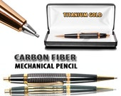 Mechanical Pencil Handmade with Carbon Fiber and Gold