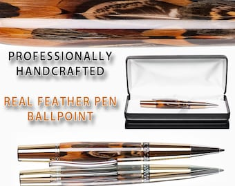 Small size feather cast in pure crystal clear acrylic ballpoint pen with card of authenticity gold metal parts with case