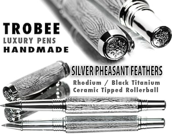Black and White Feather Rollerball Pen Superior quality hand made writing gift world class design
