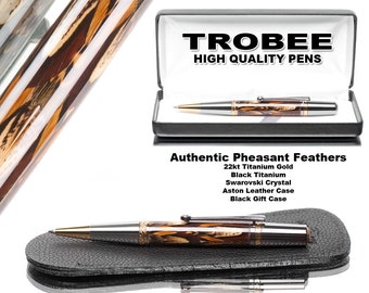 Real Pheasant  feathers cast in acrylic turned on a lathe handmade pen work of art writes  smooth Swarovski crystal on clip by top pen maker