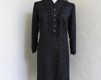 Black Widow - 1960's satin Dress with Chiffon Sleeves